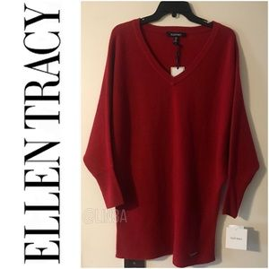 NWT Ellen Tracy Downtown Glam V-Neck Sweater Top